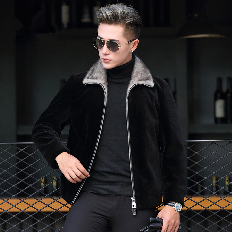 Autumn Winter Wool Fur Coat Men Mink Fur Collar Jacket Sheep Shearling Fur Coat Abrigo Hombre Invierno P-M8570C ZL869