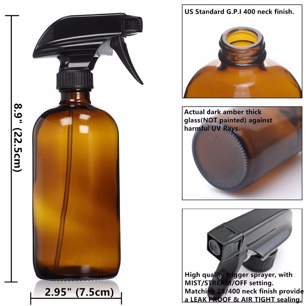 2 Pack Refillable 500ml 16 OZ Amber Clear Glass Spray Bottles For Essential Oils Cleaning Liquid Sprayer Container-3