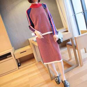 2019 Autumn Winter High Quality Streetwear Knitted Two Piece Set for Women Classic Plaid Neon Sweater and Wrap Bodycon Skirt Set