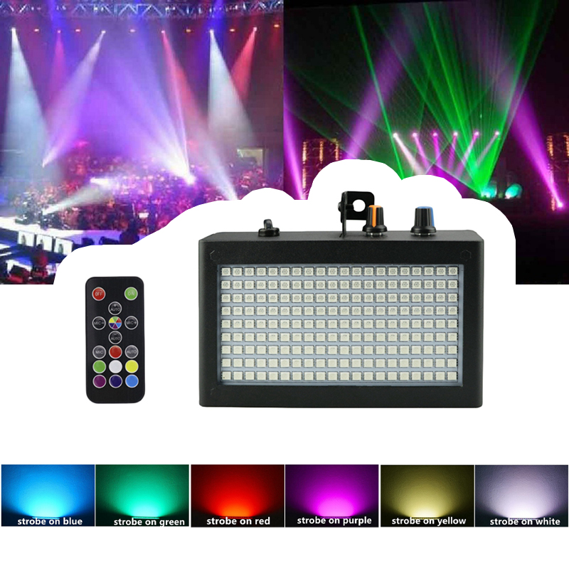 180 Leds Strobe Flash Light Portable 35W Rgb Remote Sound Control Strobe Speed Adjustable For Stage Disco Bar Party Club(Eu Pl-in Stage Lighting Effect from Lights & Lighting on