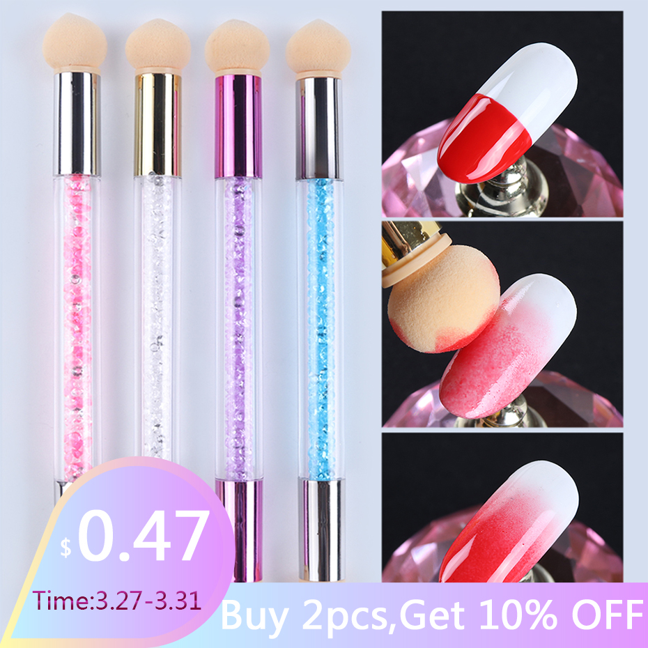 1pcs Gel Polish Color Gradient Nail Brush Pen Dual Sponge Heads Sharp Round Glitter Powder Handle Blooming Pen Manicure SA945