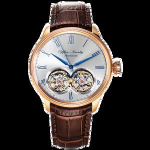 Image 3 - Marka adı çift volan otomatik mekanik saatler safir kristal 3ATM kemer iş moda volan erkek kol saati
