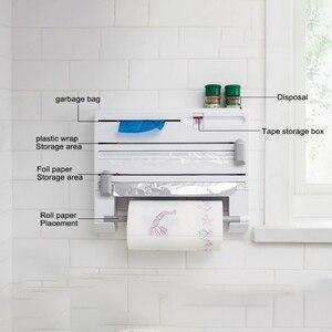 Sześć w jednym nóż kuchenny folia spożywcza folia aluminiowa worek na śmieci papier schowek na ręczniki bezspoinowy ścienny wiszące narzędzia kuchenne
