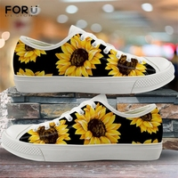 FORUDESIGNS 3D Yellow Flower Sunflower Pattern Woman Low Top Canvas Shoes Spring/Autumn Sneakers Lady 2019 New Vulcanized Shoes