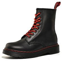 Mulheres botas de couro genuíno de alta qualidade martin botas plataformas casal punk botas de motocicleta tornozelo sapatos femininos inverno