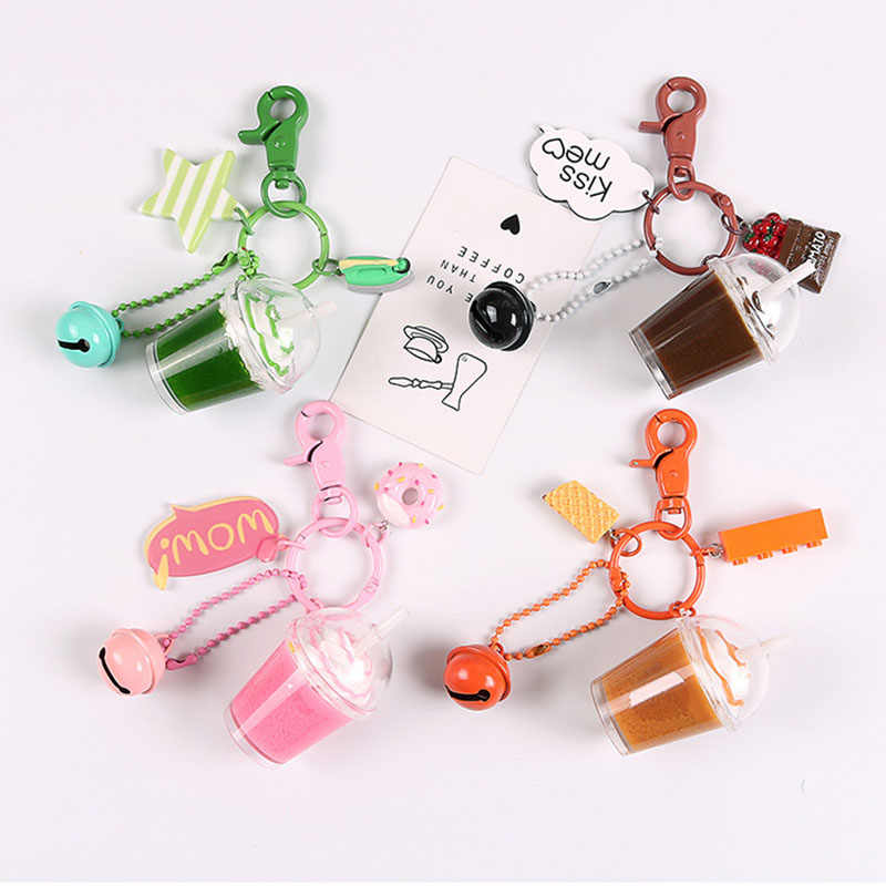 Creative Mini Drink Keychain Matcha Coffee Milk Tea Acrylic Keyring Jewelry Building Blocks Keyfob Jewelry Gift for Women Men
