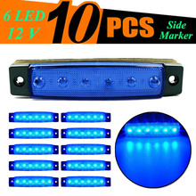 10pcs DC 12V 6 LEDs Super Blue Clearance Truck Trailer ABS Side Marker Light Lamp Van Waterproof car light Accessories