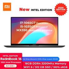 Xiaomi Redmibook 16 Laptop Notebook i7-1065G7/i5-1035G1 16GB RAM 512G SSD Storg 100% sRGB FHD Screen 2GB DDR5 MX350 Computer