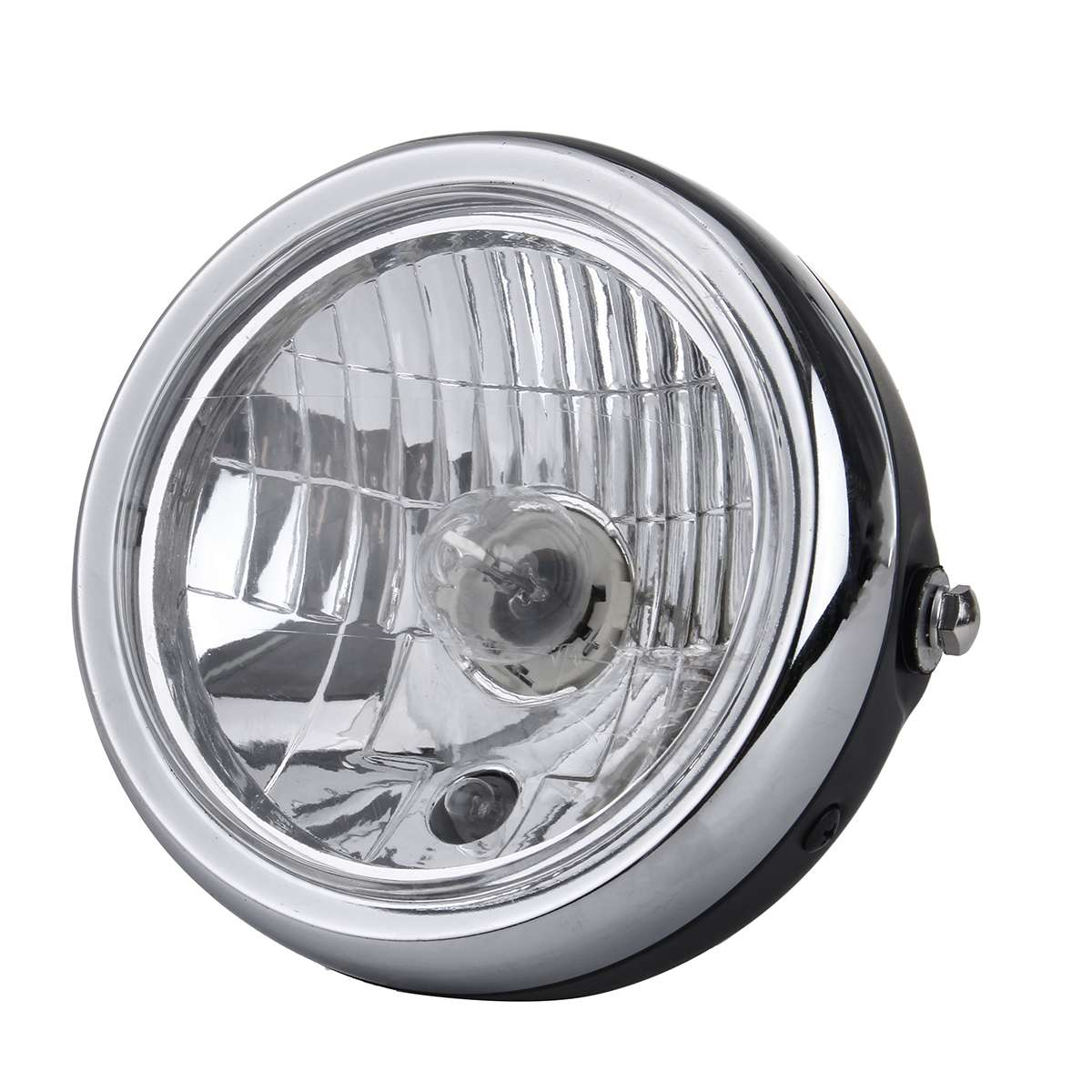 Retro Metal 6 Inch 35W 12V Universal Motorcycle Headlight H4 HID Hi/Lo Beam Light Lamp Fog Lamp Side Mount Round Motor Headlamp