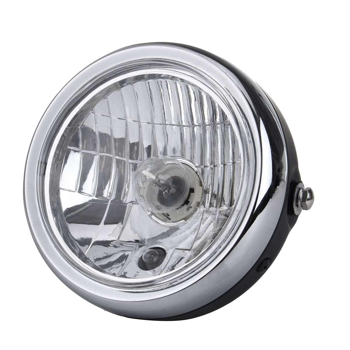 Retro Metal 6 Inch 35W 12V Universal Motorcycle Headlight H4 HID Hi/Lo Beam Light Lamp Fog Lamp Side Mount Round Motor Headlamp
