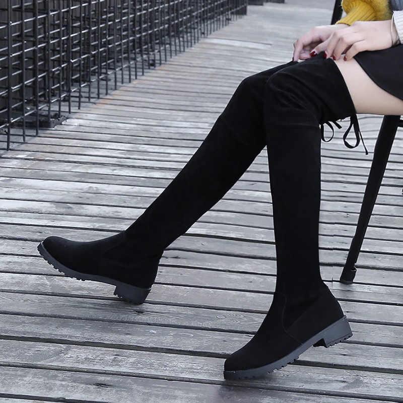 Boyutu 35-41 Kış Diz Çizmeler Üzerinde Kadın Streç Kumaş Uyluk Yüksek Seksi Kadın Ayakkabı Uzun Bota Feminina zapatos De Mujer
