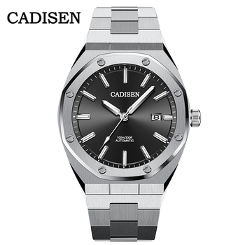 CADISEN 2020 Design Brand Luxury Men's Watches NH35A Automatic Black Watch Men Waterproof Leisure Business Mechanical Wristwatch cadisen men automatic mechanical watch top luxury brand seiko nh35a movement stainless steel 50m waterproof curved glass watch