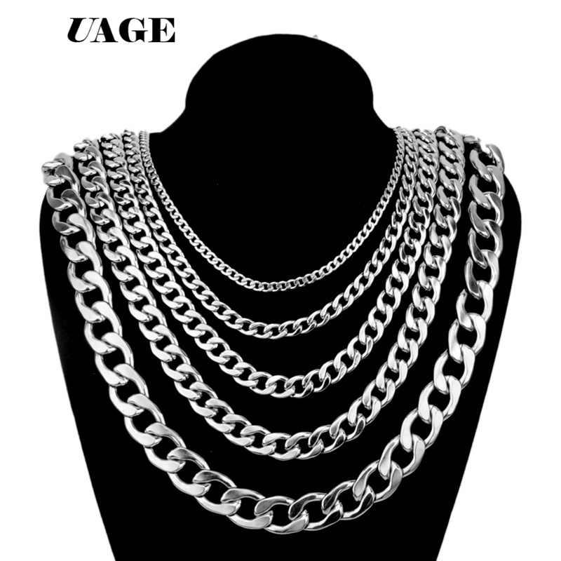UAGE plata oro relleno sólido collar cadenas borlas enlace hombres gargantilla Acero inoxidable hombre accesorios femeninos moda 2018