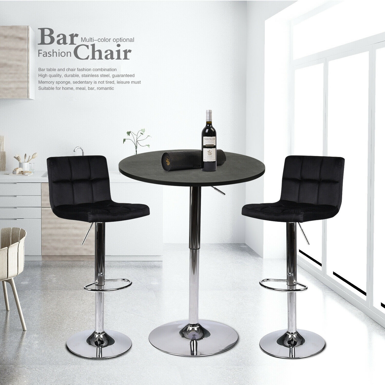 3 Piece Bar Table Stools Set Counter Height Swivel Dining Chair Pub Bistro Combo