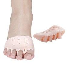 Dropship 2 unids/par de silicona cómodos soportes para dedos de 5 agujeros enderezadora hallux valgus ortodoncia soportes para dedos de los pies para el cuidado de los pies