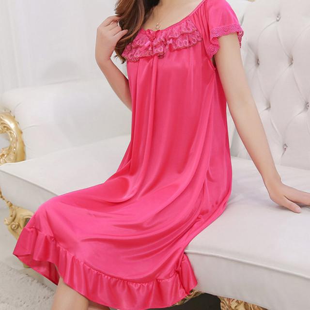 Lace Ice Silk Satin Night Dress Short Sleeve Nightwear Sexy Women Sleepwear Satin Nightgown Vestidos Girl Lingerie Nightdress #W