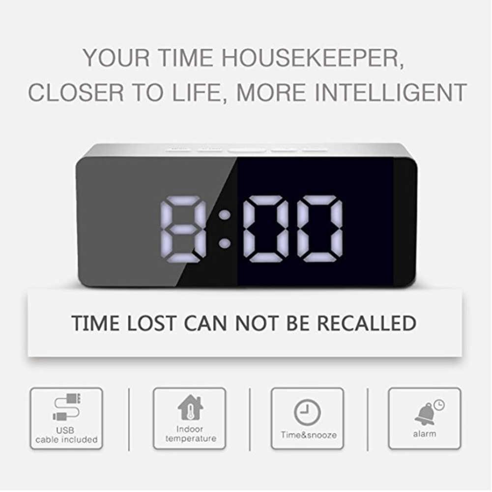 YENI LED Ayna çalar saat Dijital Erteleme Masa Saati Elektronik Zaman Sıcaklık Ekran Ev Dekorasyon Saat Despertador