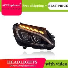 For Benz W205 2014 2019 Headlights All LED Headlight DRL Dynamic Signal Hid Head Lamp Bi Xenon Beam Accessories Car Styling