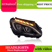 לנץ W205 2014 2019 פנסים כל LED פנס DRL דינמי אות Hid ראש מנורת Bi קסנון קרן אבזרים רכב סטיילינג