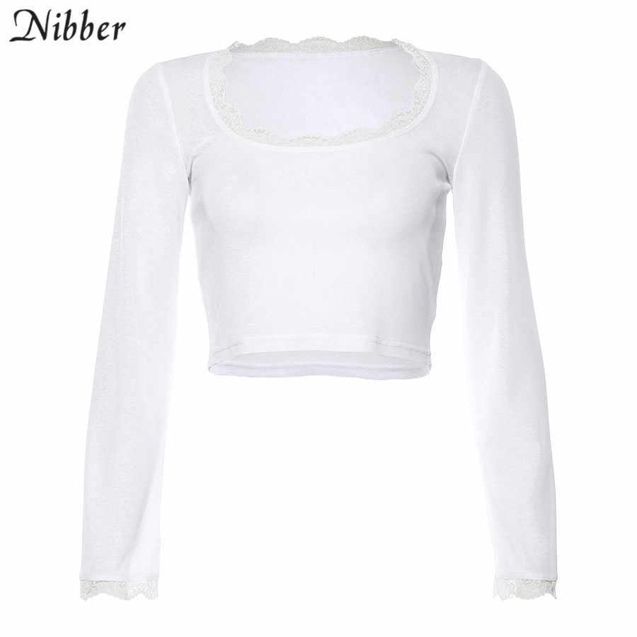 Nibber Harajuku תחרה לראות דרך בסיסי יבול למעלה נשים T-shirt2019 סתיו אלגנטי למתוח Slim קצר חולצות מקרית טי חולצה mujer