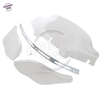 "6"" Motorcycle Windshield Side Air Wing And Slotted Stock Batwing Trim case for Harley Electra Street Glide Touring 1996-2013"