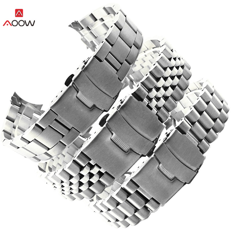 AOOW Stainless Steel Watch Band 20mm 22mm Strap Wristband Curved End Watch Strap Double Lock Buckle Replacement Wrist Belt