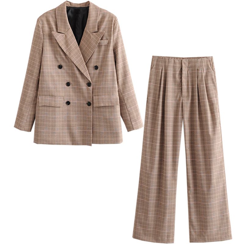 European and American net red retro plaid suit women 2020 spring and autumn new loose fashion was thin jacket trousers two-piece