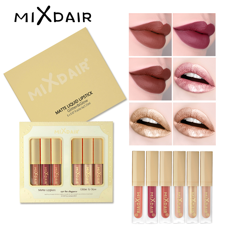 MIXDAIR Set Matte Lip Gloss Glitter Shimmer Highlight Set Liquid Lipstick Eye Shadow Face Highlighter Diamond Pigment Makeup Set 1