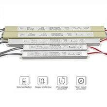Ultra fino led fonte de alimentação dc12v 18w 25 36 48 60 transformadores iluminação AC110 220V driver para tiras led placa publicidade