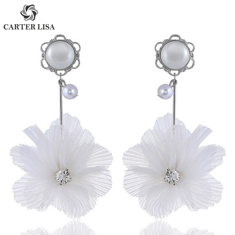 CARTER LISA Fashion Elegant White Cloth Flower Pearl Drop Dangle Earings For Women Ethnic Bohemian Jewelry Party Bridal Gifts