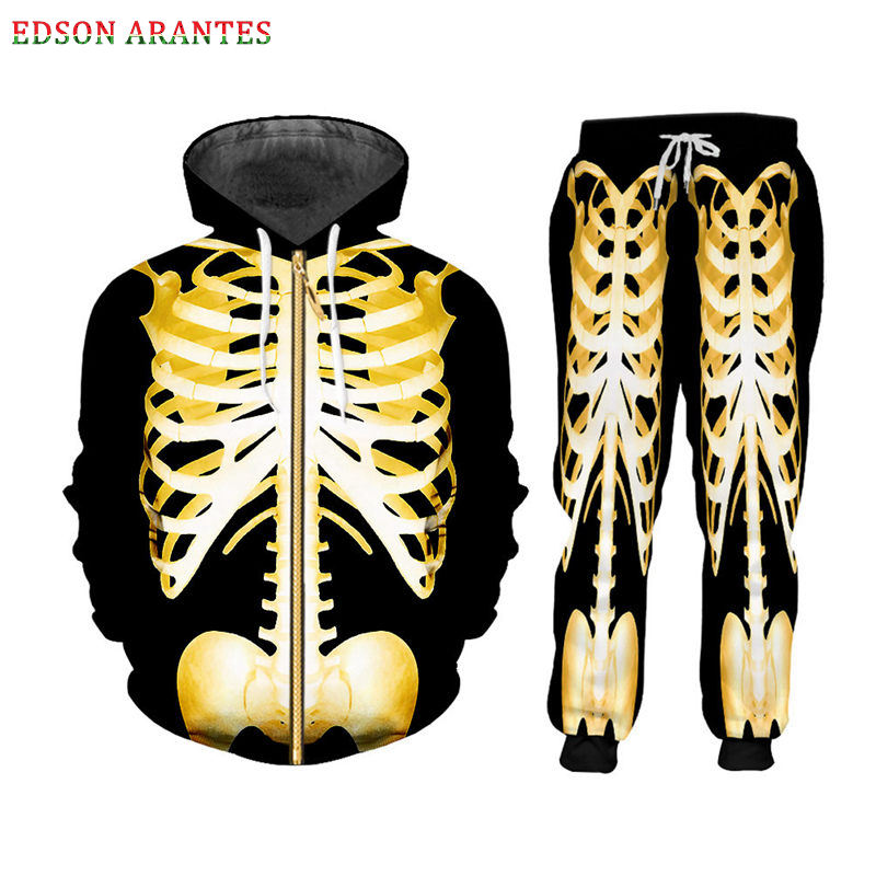 Custom S-7XL Skeleton Zipper Hoodie Jackets+Pants 2pcs Men's Sets Gothic 3D Gold Skull Print Unisex Sweatshirt Pants Sportsuit (1) - 副本