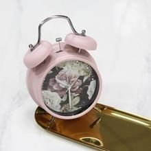 Reloj despertador de 6 pulgadas, decoración para el hogar, reloj despertador, creativo Estilo Vintage, estampado de flores, relojes de mesa para estudiantes