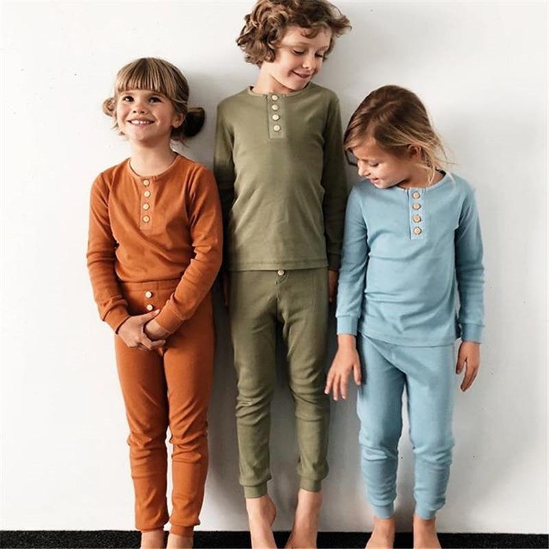 Kids Long John Pajamas Set Buttons Decor Toddler Infant Baby Girls Boy T-shirt+Pants Leggings 2pcs Outfits Set Clothes PJS
