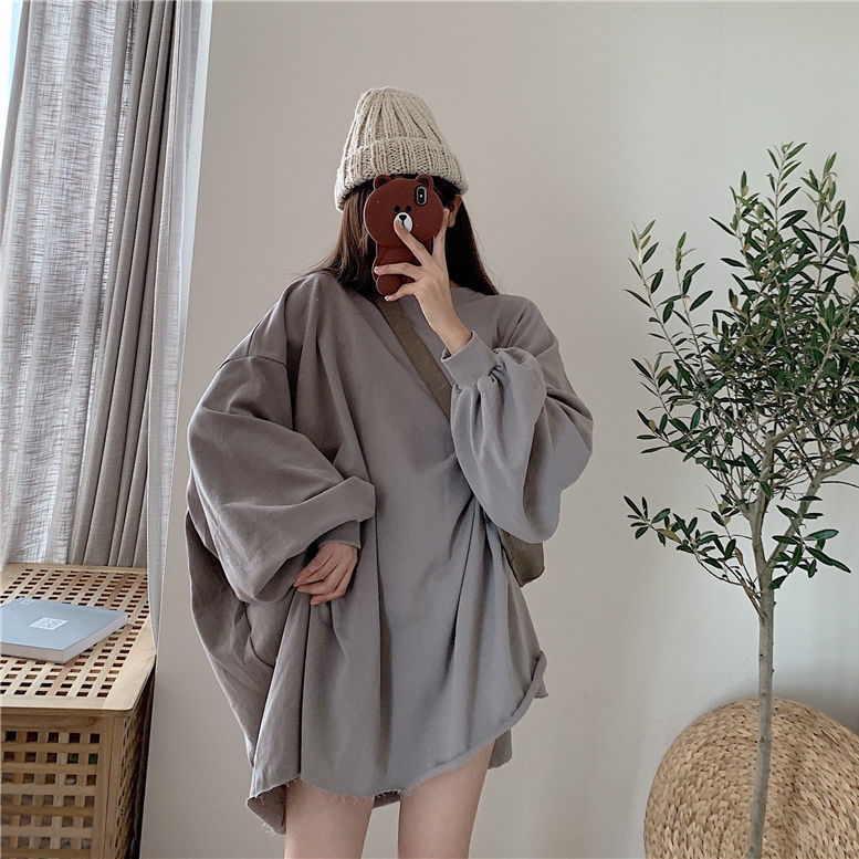 Sweatshirt girl street wear loose hip-hop Harajuku female casual long-sleeved female high street super large round neck 7