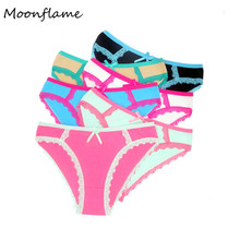 Moonflme 5 pcs/lots Hot Sale 6 Color Women Panties Cotton Sexy Lace Panties 89147