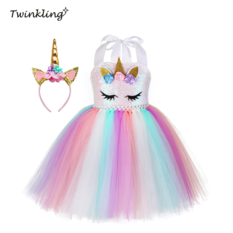 Pastel Girls Unicorn Sequin Princess Tutu Dress Girl Masquerade Birthday Party Dress Children Purim Halloween Cosplay Costume