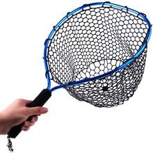 Sougayilang Fly Fishing Net Mesh Soft Rubber Red Landing Net Trout Catch Net Lanyard Rope Magnetic Buckle Fishing Tackle