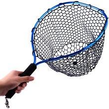 Sougayilang rede de pesca com mosca malha de borracha macia red landing net truta captura rede cordão corda fivela magnética pesca equipamento