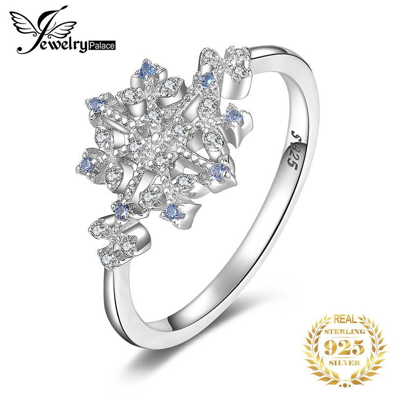 JPalace Snowflake Created Blue Spinel Rings 925 Sterling Silver Rings For Women Stackable Ring Silver 925 Jewelry Fine Jewelry