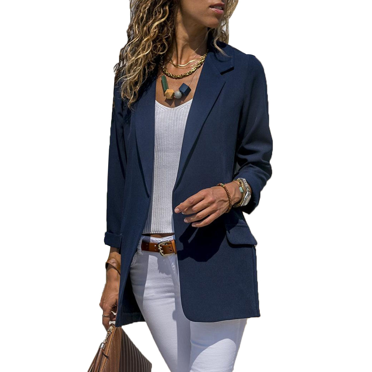 Women's Casual Slim Blazer Jacket Coat Ladies Fashion Party Fitted Top Solid Color OL Blazers