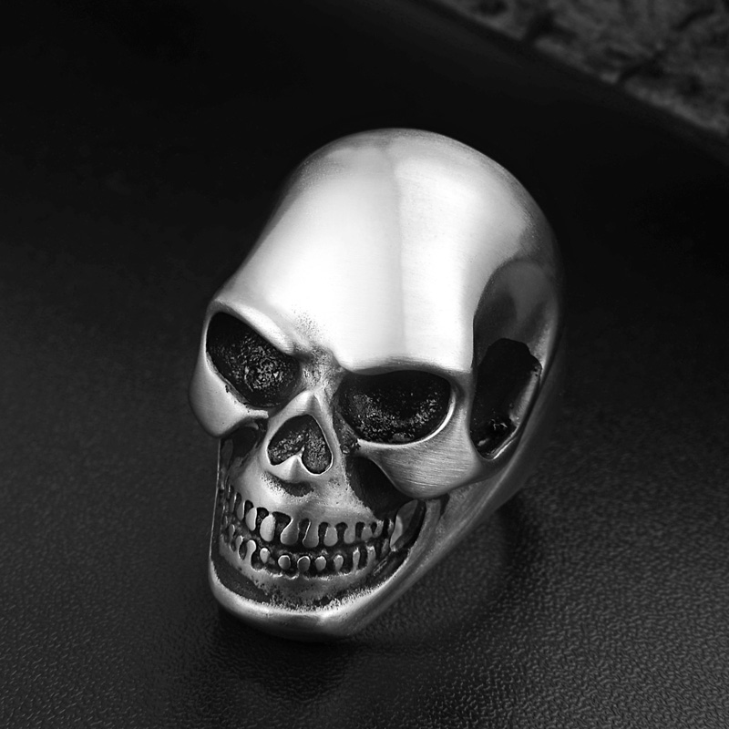 Punk Silver Matte Skull Head Mens Ring Stainless Steel Cool Death Rings Halloween Hollow Gothic Jewelry Accessories