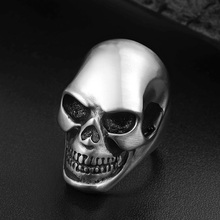 Punk Silver Matte Skull Head Men's Ring Stainless Steel Cool Death Skull Rings Halloween Hollow Gothic Men's Jewelry Accessories cool stainless steel rhinestone skull finger ring