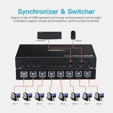 8 porte USB Sincronizzatore DNF Tastiera Mouse USB Condivisa Visualizzare La Sincronizzazione Regolatore KVM Switcher per Win7/8/10 MacOS Linux