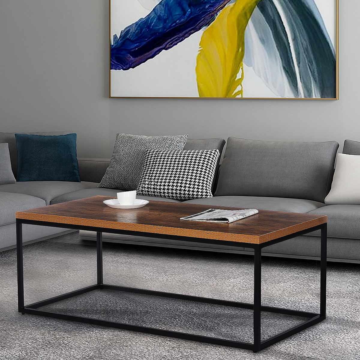 Modern Industrial Coffee Table Wood and Metal Frame Living Room Tea Table Laptop Desk