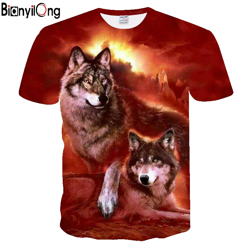 Fashion Men Tshirts 3D Printed Flame Wolf Red T-shirts New Design Tops Tees Short Sleeve Shirt Animal Casual Woman Quick Drying