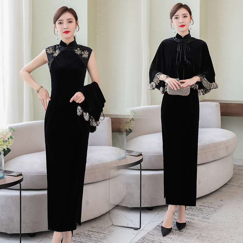 Robe chinoise élégante noire qipao fête de bal cheongsam avec cape 2 pièces/ensemble