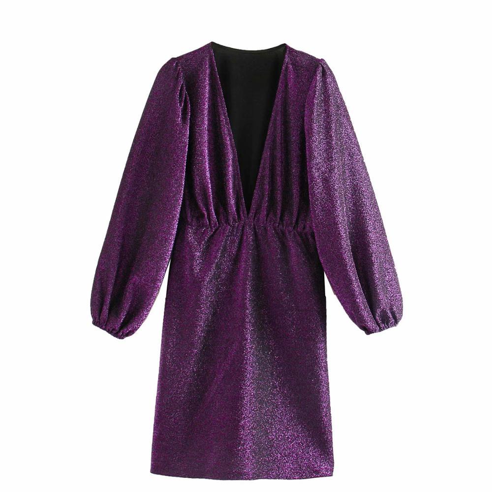 New 2020 Women Sexy Deep V Neck Shinning Knitting Mini Dress Female Chic Vestidos Lantern Sleeve Casual Slim Club Dresses DS3170