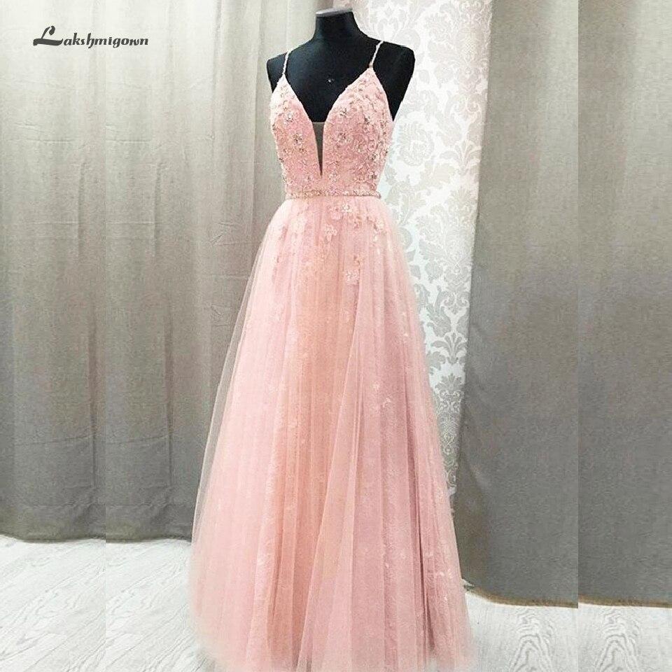 Chic Pink   Prom     Dress   2020 Vestido Largo Fiesta Elegant Evening   Dress   Long Girls Formal Party Gowns Lace Beading Open Back