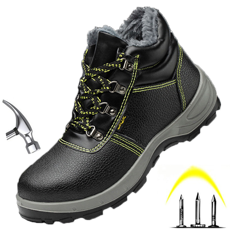 Winter Safety Work Shoes Men With Steel Toe Snow Boots Fur Waterproof Indestructible Shoes For Outdoor Boot Protective Shoes image