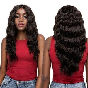 Perruque Lace Front Wig synthétique longue | Perruque Lace Front Wig, cheveux noirs blonds rouges, Deep wave avec raie centrale, sans colle, pour femmes noires, SOKU